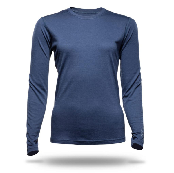 Long Sleeve Crew T-Shirt Women - Core Merino Wool - Colour Midnight Blue