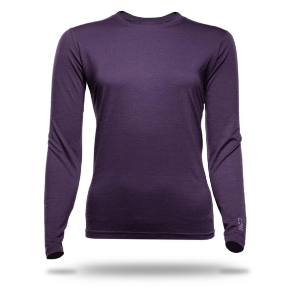 Long Sleeve Crew T-Shirt Women - Core Merino Wool - Colour Blackberry Purple