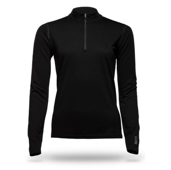 Long Sleeve Zip Neck T-Shirt Women - Core Merino Wool - Colour Black