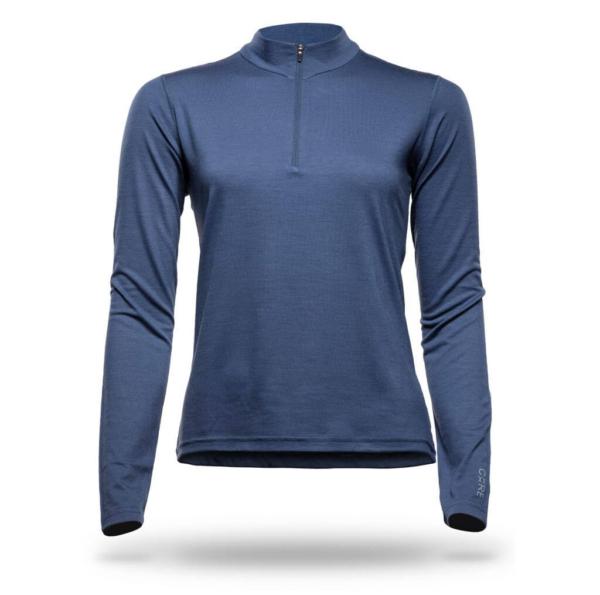 Long Sleeve Zip Neck T-Shirt Women - Core Merino Wool - Colour Blue Midnight