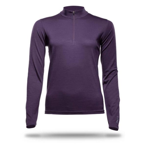 Long Sleeve Zip Neck T-Shirt Women - Core Merino Wool - Colour Purple Blackberry