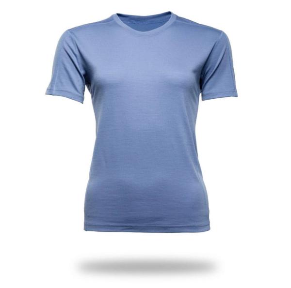 Short Sleeve Crew T-Shirt Panelled - Core Merino Wool - Colour light blue denim
