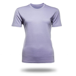 Short Sleeve Crew T-Shirt Panelled - Core Merino Wool - Colour lilac