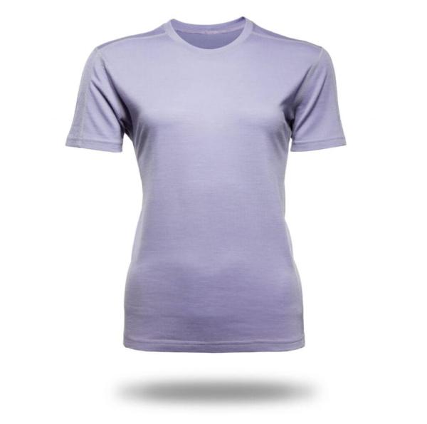 Short Sleeve Crew T-Shirt Panelled - Core Merino Wool - Colour lilac