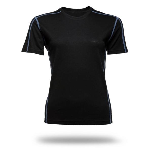 Short Sleeve Crew T-Shirt Panelled - Core Merino Wool - Colour black