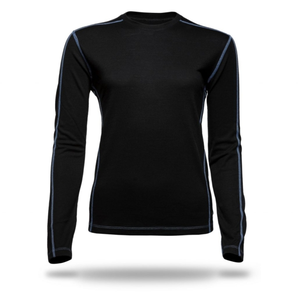 Long Sleeve Crew Panelled T-Shirt Women - Core Merino Wool - Colour Black