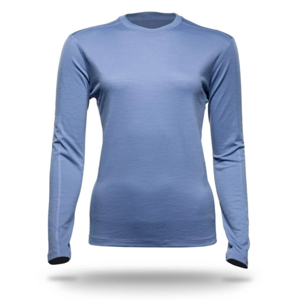 Long Sleeve Crew Panelled T-Shirt Women - Core Merino Wool - Colour Light Blue Denim
