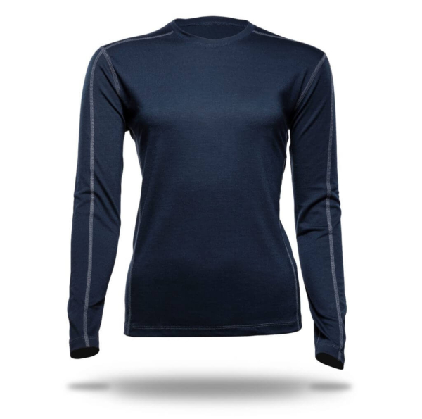 Long Sleeve Crew Panelled T-Shirt Women - Core Merino Wool - Colour Dark Blue Midnight