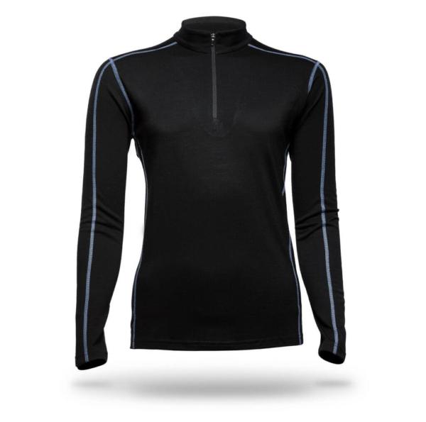 Long Sleeve Zip Neck Panelled T-Shirt Women - Core Merino - Colour Black