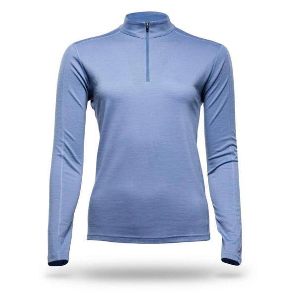 Long Sleeve Zip Neck Panelled T-Shirt Women - Core Merino - Colour light blue denim