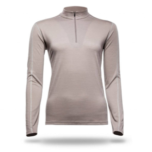 Long Sleeve Zip Neck Panelled T-Shirt Women - Core Merino - Colour Beige