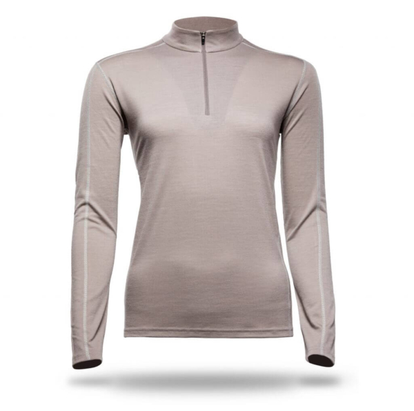 Long Sleeve Zip Neck Panelled T-Shirt Women - Core Merino - Colour Beige