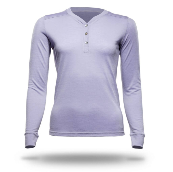 Long Sleeve Button Front T-Shirt - Core Merino Wool - Colour Lilac