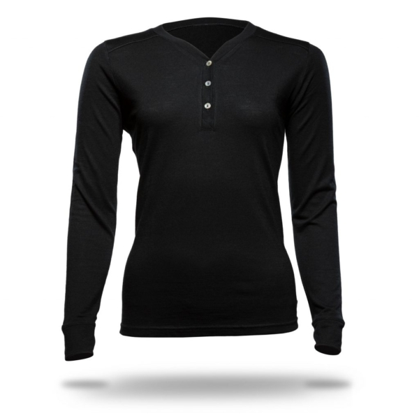 Long Sleeve Button Front T-Shirt - Core Merino Wool - Colour Black
