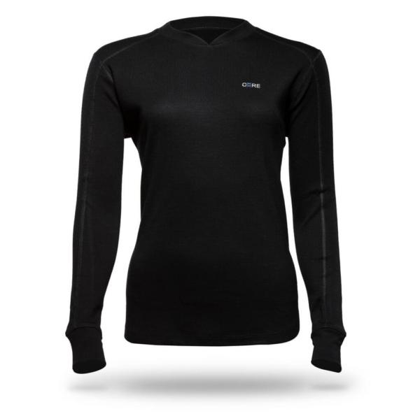 Long Sleeve Raglan Crew T-Shirt - Core Merino Wool - Colour Black