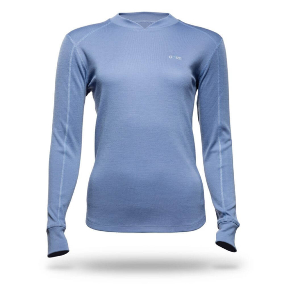 Long Sleeve Raglan Crew T-Shirt - Core Merino Wool - Colour Lilac