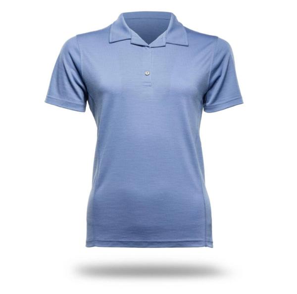 Polo Shirt Women - Core Merino Wool - Colour Light Blue Denim