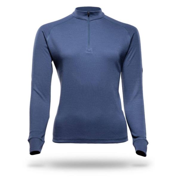 Long Sleeve Raglan Zip Neck T-Shirt Women - Core Merino - Colour Midnight Blue