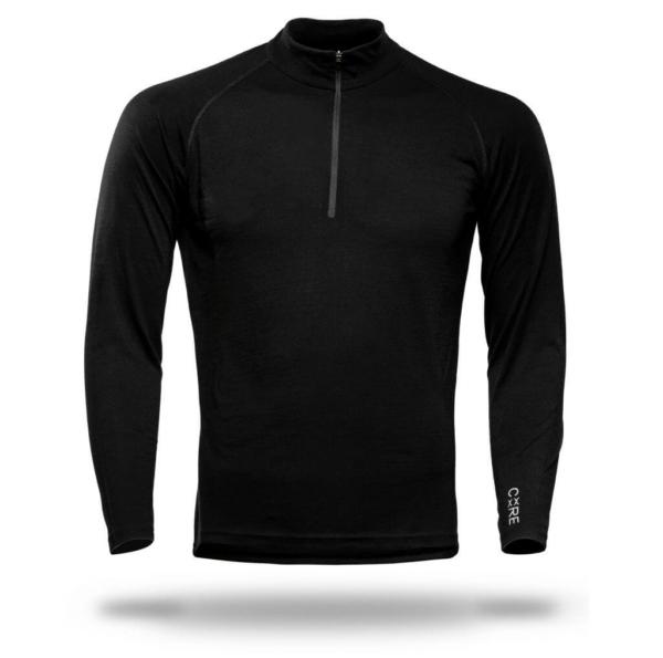 Long Sleeve Zip Neck T-Shirt Men - Core Merino Wool - Colour Black