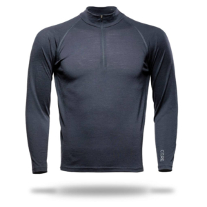 Long Sleeve Zip Neck T-Shirt Men - Core Merino Wool - Colour Asphalt Grey