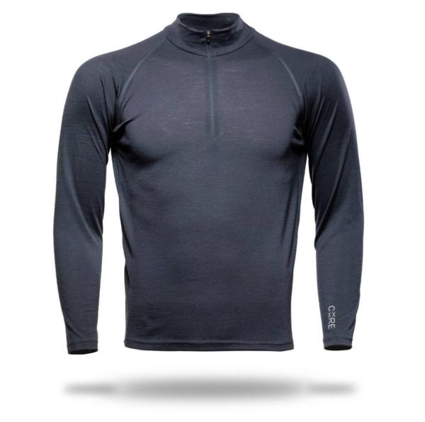 Long Sleeve Zip Neck T-Shirt Men - Core Merino Wool - Colour Asphalt Grey