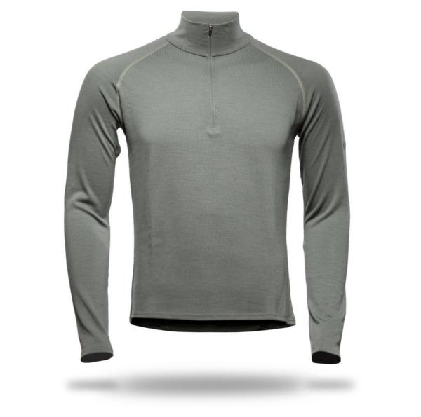 Long Sleeve Raglan Zip Neck T-Shirt Men - Core Merino Wool - Colour Moss