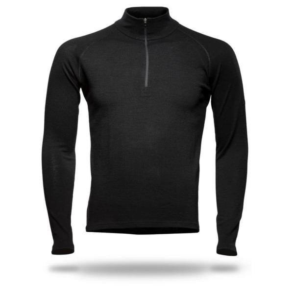Long Sleeve Raglan Zip Neck T-Shirt Men - Core Merino Wool - Colour Black