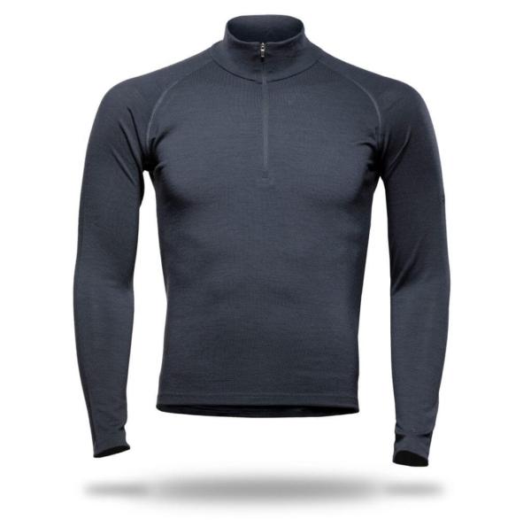 Long Sleeve Raglan Zip Neck T-Shirt Men - Core Merino Wool - Colour Asphalt Grey