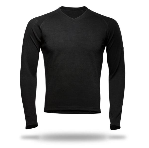 Long Sleeve Raglan V-Neck T-Shirt Men - Core Merino Wool - Colour Black