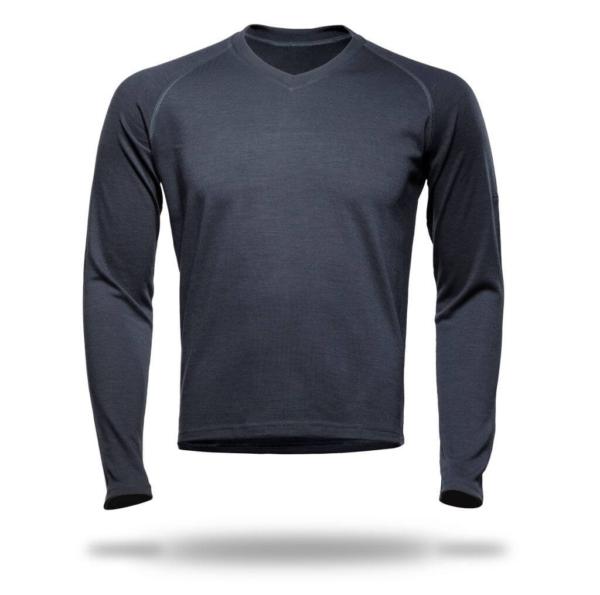 Long Sleeve Raglan V-Neck T-Shirt Men - Core Merino Wool - Colour Aslphalt Grey