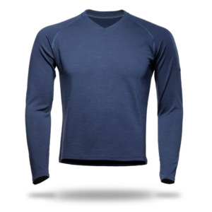 Long Sleeve Raglan V-Neck T-Shirt Men - Core Merino Wool - Colour Marine Blue