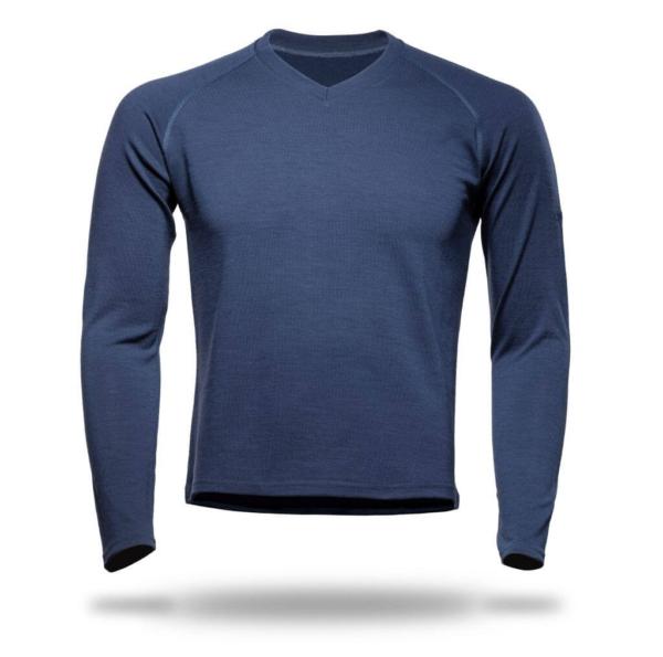 Long Sleeve Raglan V-Neck T-Shirt Men - Core Merino Wool - Colour Marine Blue