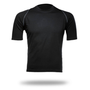 Short Sleeve Crew Panelled T-Shirt Men - Core Merino Wool - Colour Black