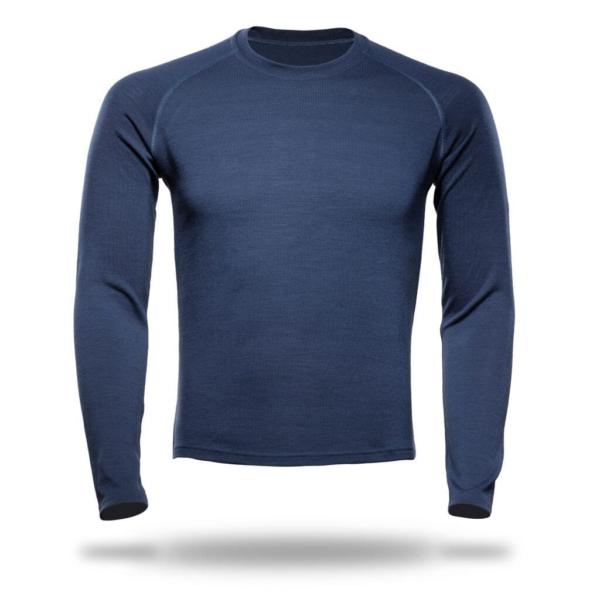 Long Sleeve Raglan Crew Neck T-Shirt Men - Core Merino Wool - Colour Marine Blue