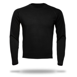 Long Sleeve Raglan Crew Neck T-Shirt Men - Core Merino Wool - Colour Black