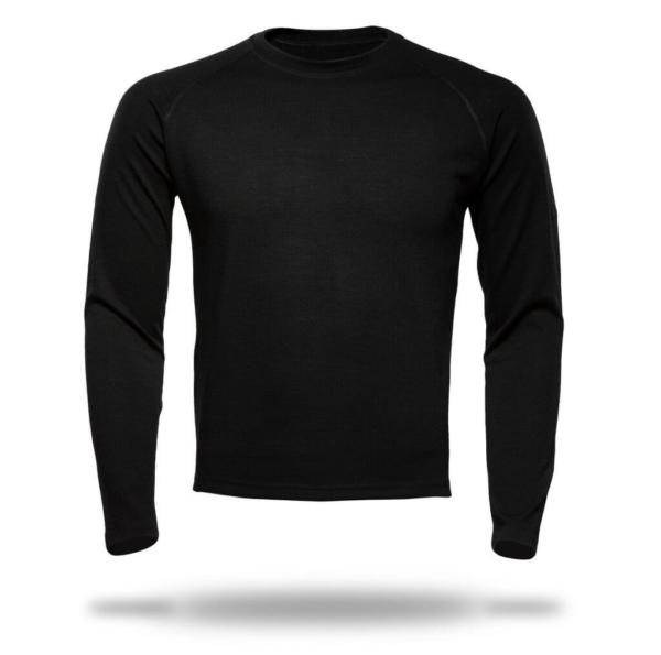 Long Sleeve Raglan Crew Neck T-Shirt Men - Core Merino Wool - Colour Black