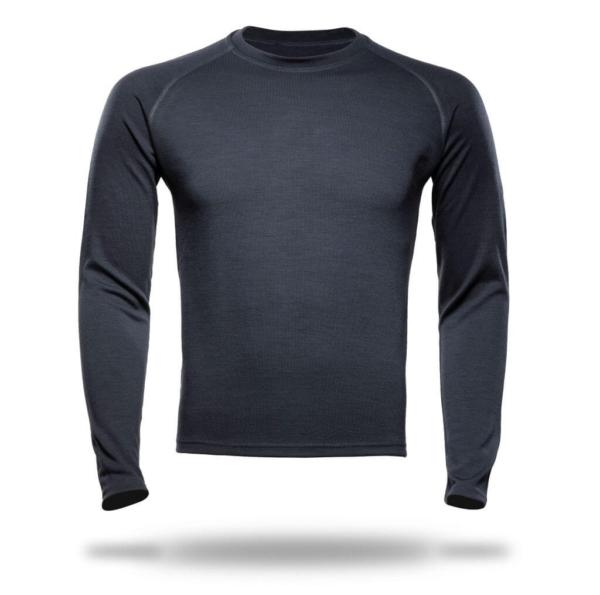 Long Sleeve Raglan Crew Neck T-Shirt Men - Core Merino Wool - Colour Asphalt Grey