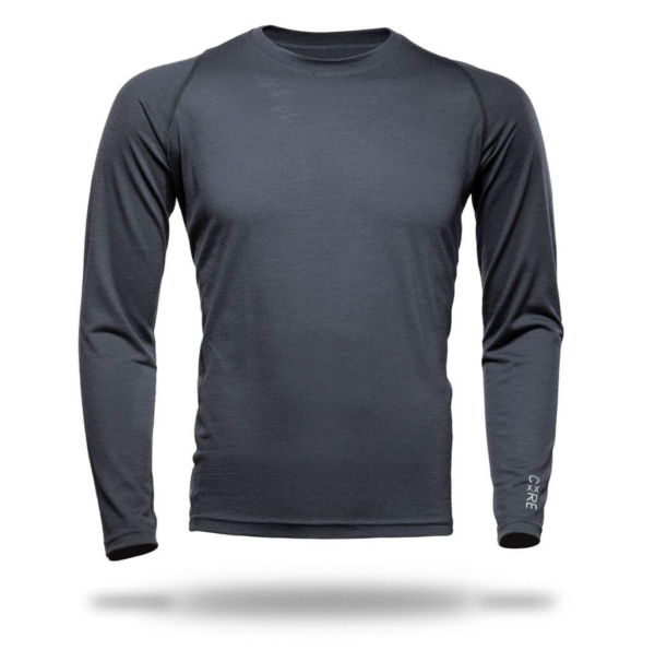 Long Sleeve Crew Panelled T-Shirt Men - Core Merino - Colour Asphalt Grey