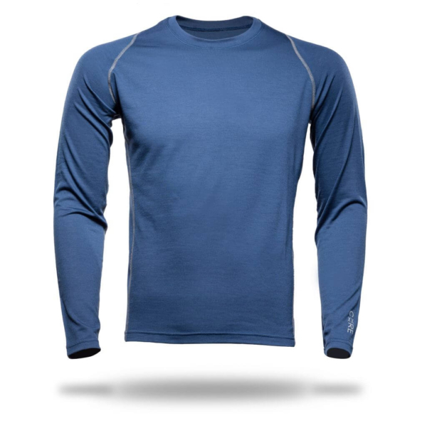 Long Sleeve Crew Panelled T-Shirt Men - Core Merino - Colour Midnight Blue