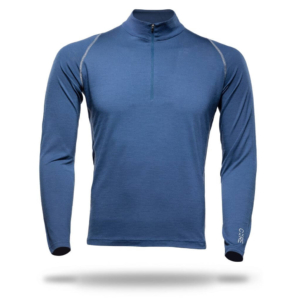 Long Sleeve Zip Neck Panelled T-Shirt Men - Core Merino Wool - Colour Night Blue