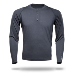 T-Shirt Long Sleeve Henley - Core Merino - Colour Asphalt