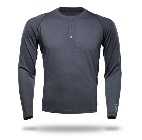 T-Shirt Long Sleeve Henley - Core Merino - Colour Asphalt