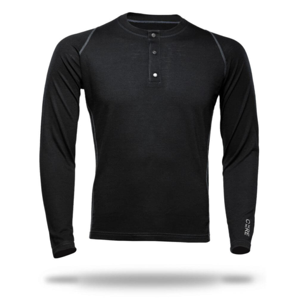 T-Shirt Long Sleeve Henley - Core Merino - Colour Black