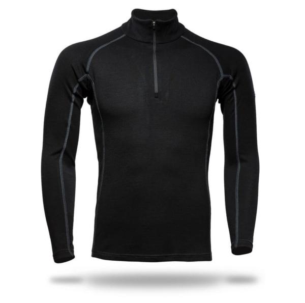 Raglan Zip Neck Panelled T-Shirt Men - Core Merino Wool - Colour Black
