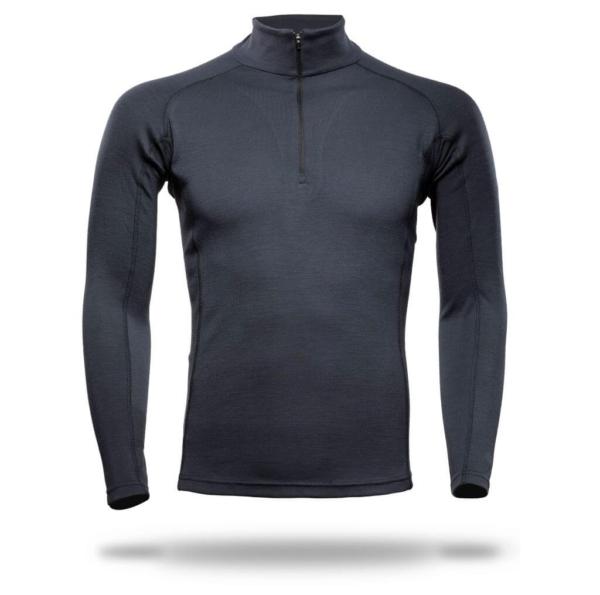 Raglan Zip Neck Panelled T-Shirt Men - Core Merino Wool - Colour Asphalt