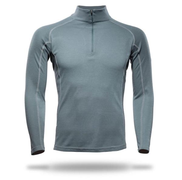 Long Sleeve Raglan Zip Neck Panelled T-Shirt Men - Core Merino Wool - Colour Moss Green