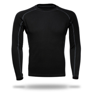 Long Sleeves Raglan Crew Neck Panelled T-Shirt Men - Core Merino Wool - Colour Black