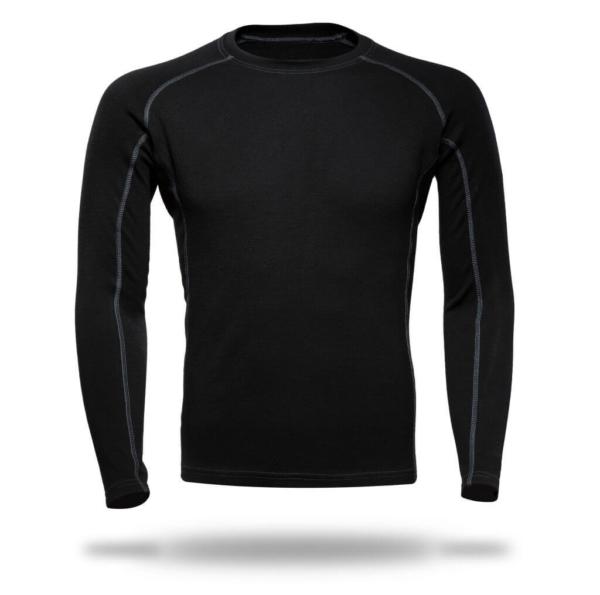 Long Sleeves Raglan Crew Neck Panelled T-Shirt Men - Core Merino Wool - Colour Black
