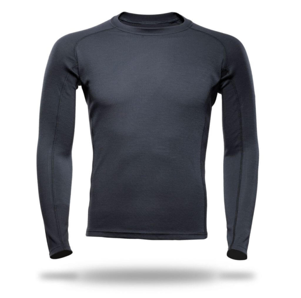 Long Sleeves Raglan Crew Neck Panelled T-Shirt Men - Core Merino Wool - Colour Asphalt Grey