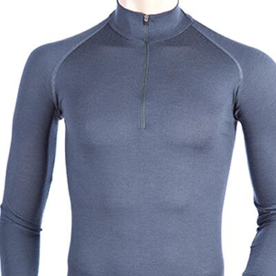 Long Sleeve Zip Neck T-Shirt Men - Core Merino Wool - Colour Denim Blue